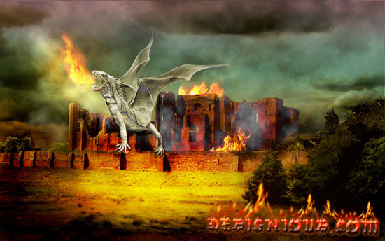 how to create a dragon on a burning castle pixel77