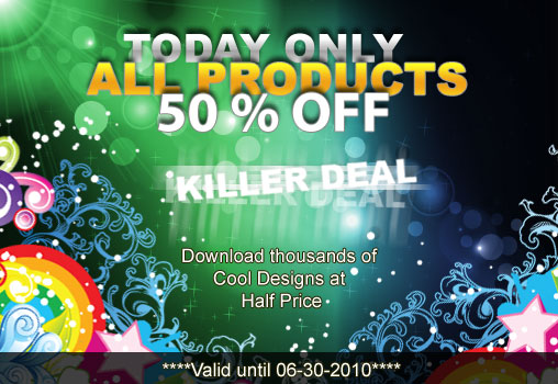 Vectors and photoshop brushes with 50% discount ONLY TODAY