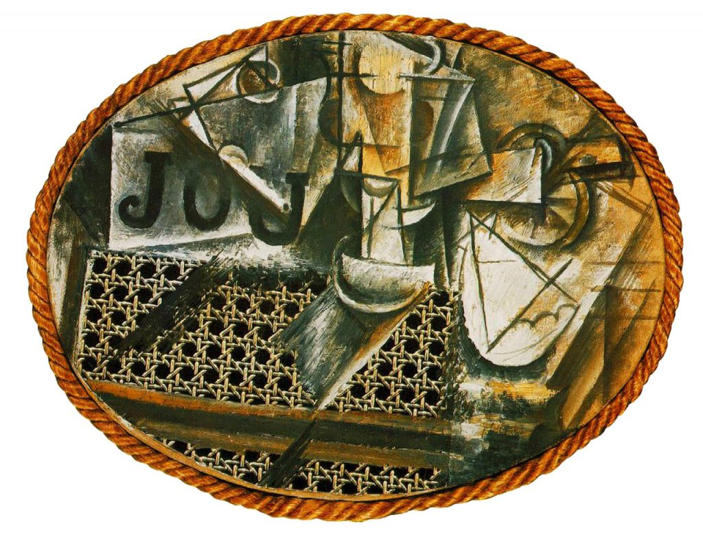 picasso-1912-still-life-with-chair-caning-1st-collage-synthetic-cubism1