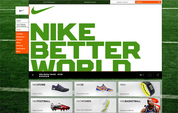 The Color Scheme In Nike Website Includes Green