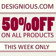 Designious.com is Melting the Prices – 50% Discount on All Products!