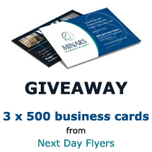 giveaway 3 sets of 500 business cards from next day flyers pixel77