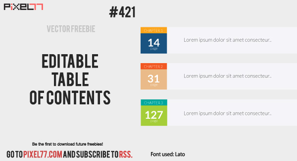 Free Vector of the Day #421: Editable Table of Contents