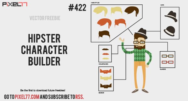 Free Vector of the Day #422: Hipster Character Builder - PIXEL77