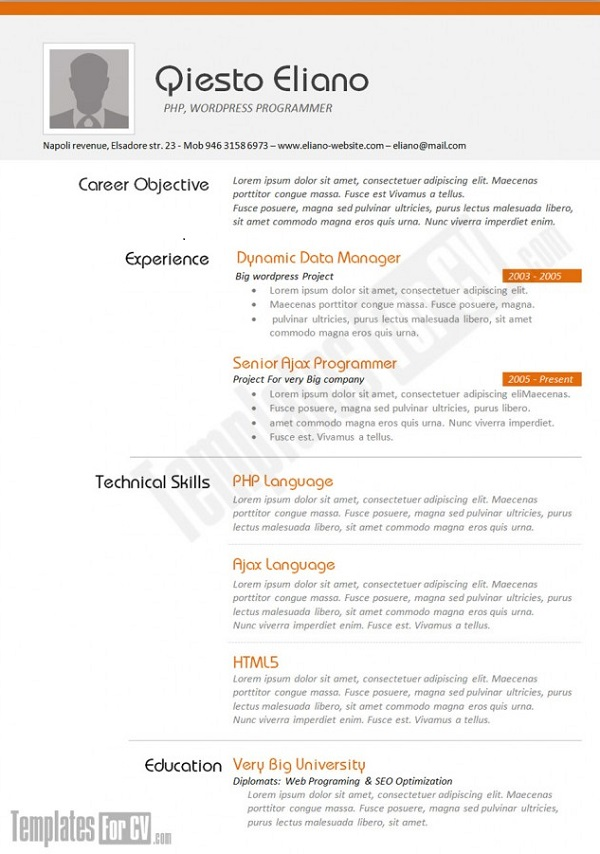 resume formats that stand out