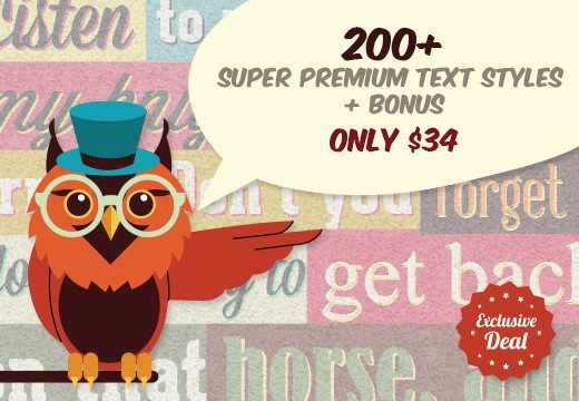 Deal of the Week:  200+ Super Premium Text Styles for Illustrator – Only $34