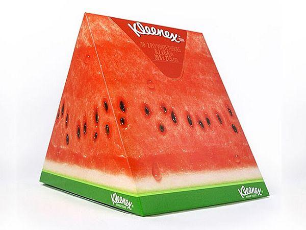 Kleenex fruit wedge packaging illustration for Kimberly-Clark