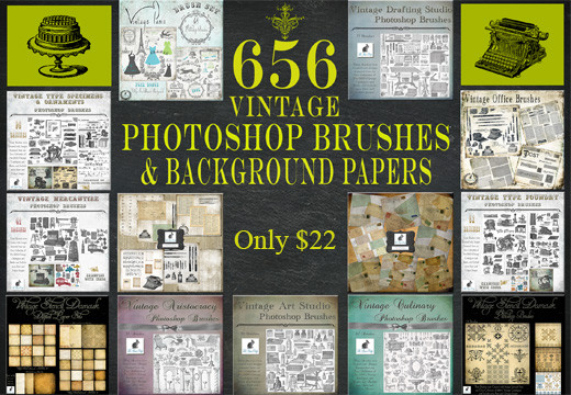 Deal of the Week: 656 Gorgeous Vintage PS Brushes & Background Papers – Only $22