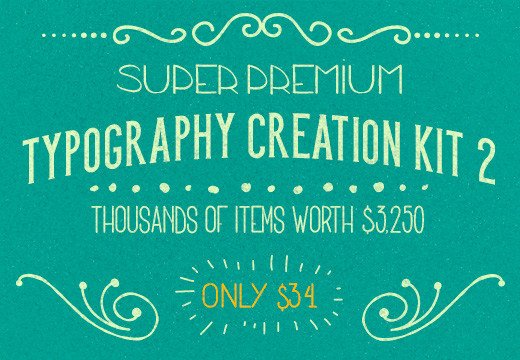 Freebie of the Week: Get a Free Sample from Super Premium Typography Creation Kit 2 worth $3,250