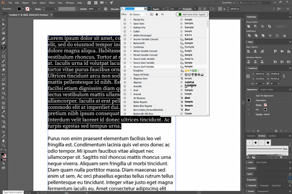 adobe fonts integration with illustrator